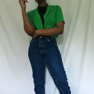 Cropped Green Cardigan